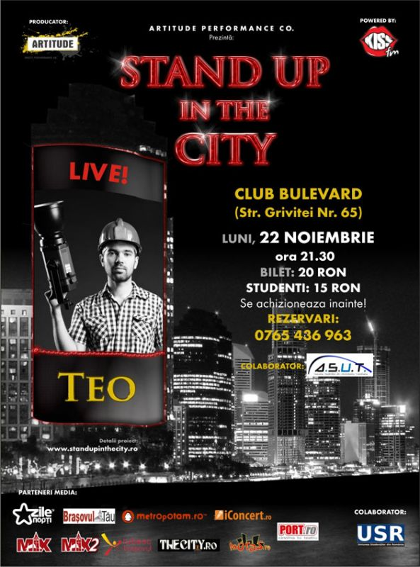 Stand Up In The City cu Teo pe 22 noiembrie