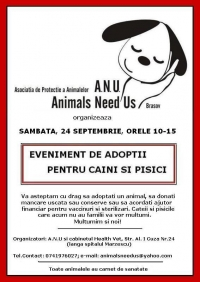 Eveniment adoptii animale fara stapan si strangere donatii in data de 24 septembrie