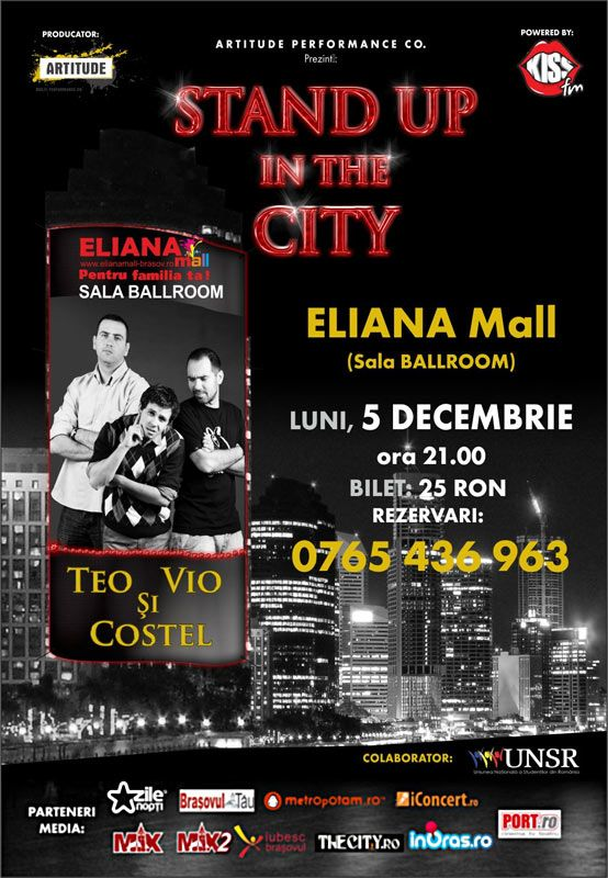 Teo, Vio si Costel revin in Brasov cu Stand Up in the city la Eliana Mall