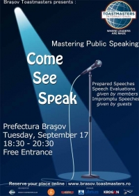 Come, See, Speak with Toastmasters Brasov