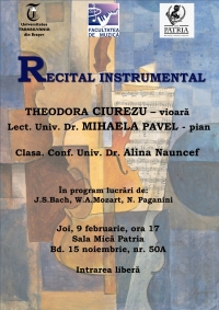 Recital instrumental la Sala Patria, in data de 9 februarie 2017